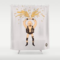wrestling Shower Curtains featuring Stone Cold - Pro Wrestling Illustration by donutglow