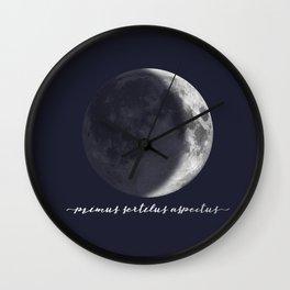 Waxing Crescent Moon on Navy Latin Wall Clock