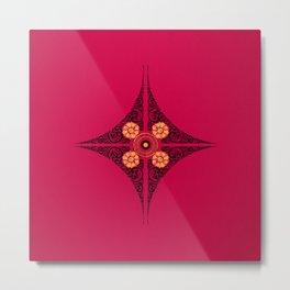 Pata Patterns in Black & Yellow on Pink Metal Print