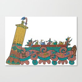 Puerto Morelos Light House (Antique Mexican Style) Canvas Print