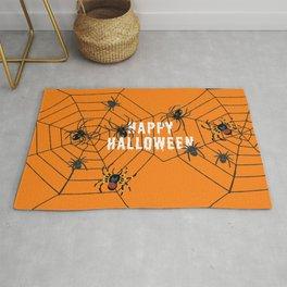 Happy Halloween Spider orange Rug