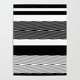 Black and white abstract striped pattern Poster