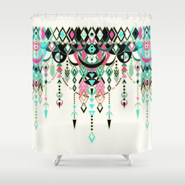 Modern Deco in Pink and Turquoise Shower Curtain