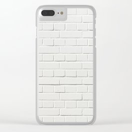 white brick wall tapestry Clear iPhone Case