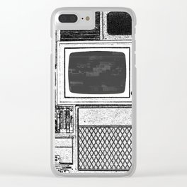 Vhs Tapes and Vinyl Collection with TV Glitch Clear iPhone Case