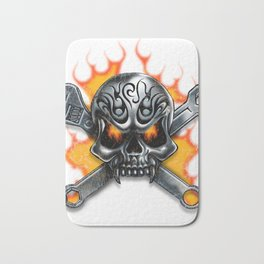 Flaming Skull and Wrenches Bath Mat