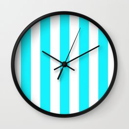 Lotion blue - solid color - white vertical lines pattern Wall Clock
