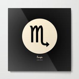 Scorpio Symbol Black Metal Print