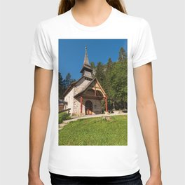 Small church surrounded by nature under the Seekofel T-shirt
