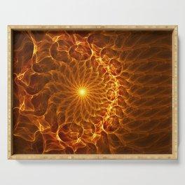 Fiery, Luminous Abstract Fractal Art Serving Tray