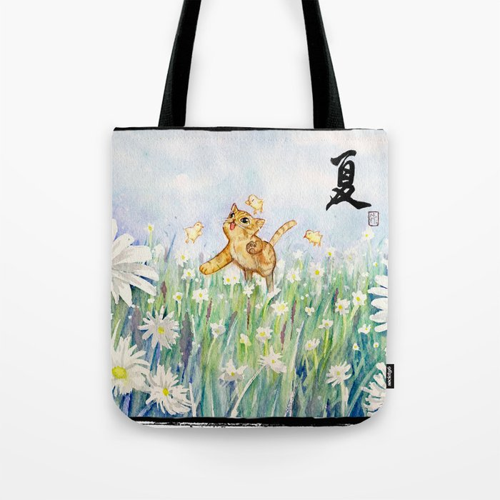 cute cat frolicking with chicks Tote Bag