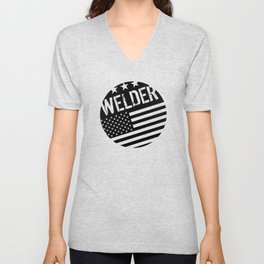 Welder: Black Flag (Circle) Unisex V-Neck