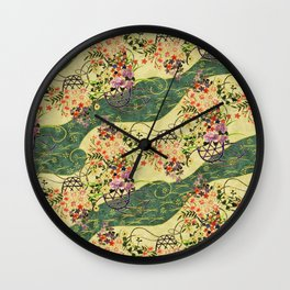 Vintage green and gold oriental floral pattern Wall Clock