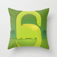 dino Throw Pillows featuring Dino by Andy DuFort