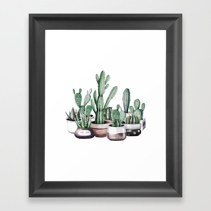 Cactus + Succulents Rose Gold Pattern by Nature Magick Framed Art Print