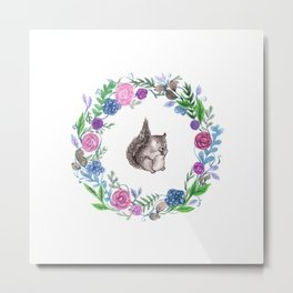 Squirrel and Wreath Watercolor Metal Print