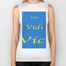 Veni Vidi Vici Blue and Gold Biker Tank