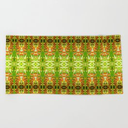 Heliconia Red Claws Pattern Beach Towel