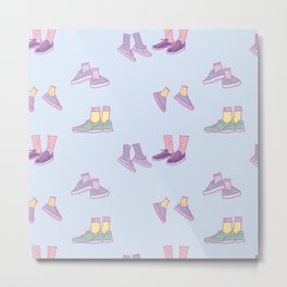 Pastel Walking Sneakers Metal Print