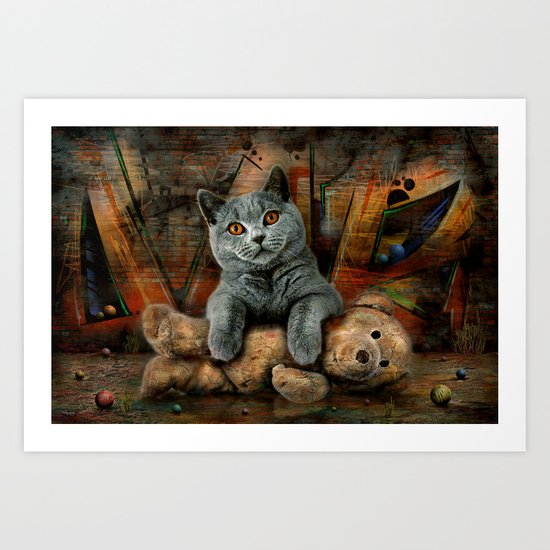 Cat Diesel with teddybear ! Art Print