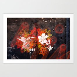 Hummingbird and flower graffiti Art Print