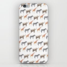 Animals, Elephant, Giraffe, Zebra, Zoo, Kids, Nursery, Minimal, Pattern, Modern art iPhone Skin