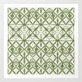 Breeze Block Shibori Olive Art Print