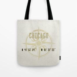 Chicago - Vintage Map and Location Tote Bag