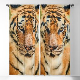 Tiger watercolor painting #1 Blackout Curtain