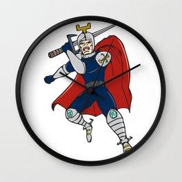 Knight Brandishing Sword Cartoon Wall Clock