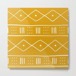 Yellow Ethnic Pattern  Metal Print