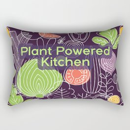 Plant Powered Kitchen Veggie Pattern Background Rectangular Pillow