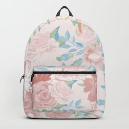 Vintage Flower Painted Watercolour Garden Pattern Backpack