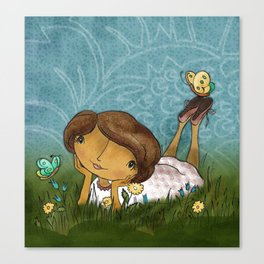 Joan In the Grass Canvas Print