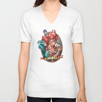 face V-neck T-shirts featuring SIREN by Tim Shumate