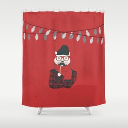 Festive Hipster Cat Shower Curtain