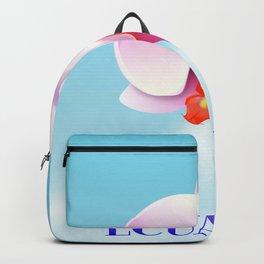 Ecuador Orchid travel poster print, Backpack