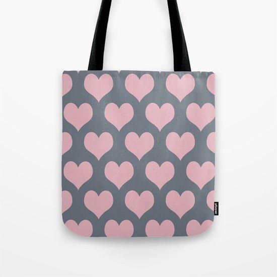 Hearts of Love Coral Pink Gray Tote Bag