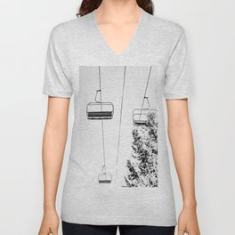 Ski Lift // Black and White Daylight Chairlift Mountain Photograph Unisex V-Neck