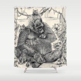 Koko Love Graphite Drawing Shower Curtain