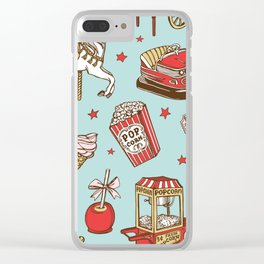 carnival pattern on blue Clear iPhone Case
