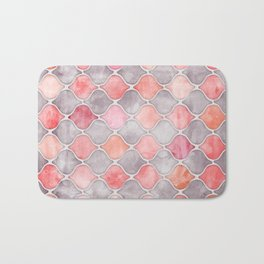 Rhythm of the Seasons - coral pink & grey Bath Mat