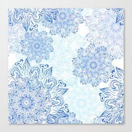 Mandala blue snowflake illustration. Canvas Print