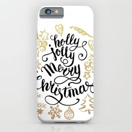 Holly jolly Merry christmas and a happy new year typography handwriting illustration iPhone Case