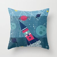 spaceship Throw Pillows featuring Spaceship by Kakel