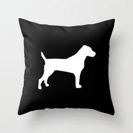 Jack Russell Terrier black and white minimal dog pattern dog silhouette Throw Pillow