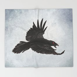 Black Crow Red Eyes and Sky Throw Blanket