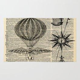 newspaper print victorian steampunk airship plane hot air balloon Rug