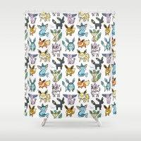 eevee Shower Curtains featuring Eeeveelution Doodle by KiraKiraDoodles