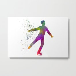 Watercolor ice skating 07 Metal Print